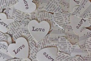 vintage paper confetti hearts