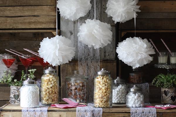 white paper pom poms