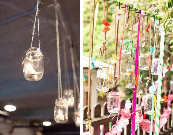 hanging wedding jam jars