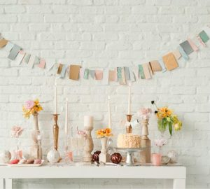 pastel pink blue wedding bunting