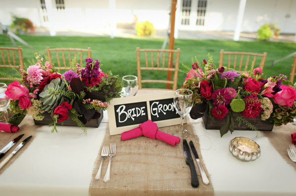 rustic wedding hessian runners