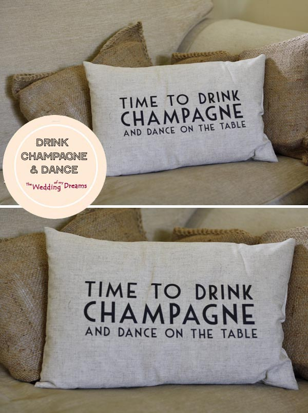 time to drink champagne and dance on the table cushion