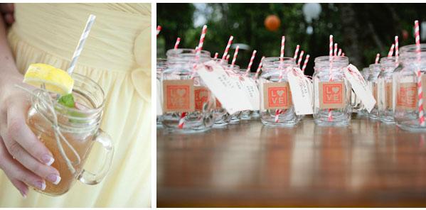 wedding jam jars straws
