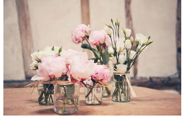 wedding jam jars table centres