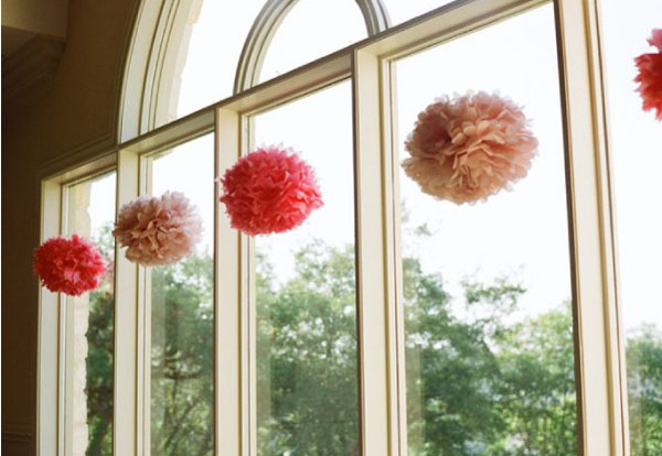 Paper pom poms the wedding of my dreamsthe wedding of my for Hanging pom poms from ceiling