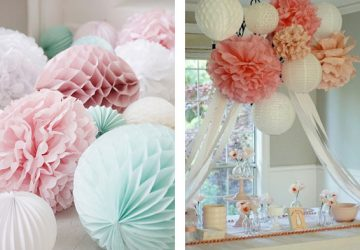 paper pom poms pastel