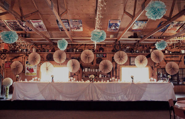 Paper pom poms wedding diy hanging wedding decorations for Hanging pom poms from ceiling