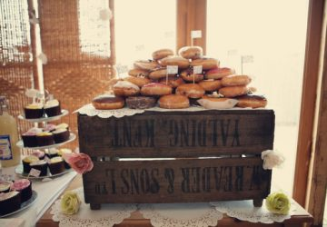 rustic wedding dessert table wooden crates