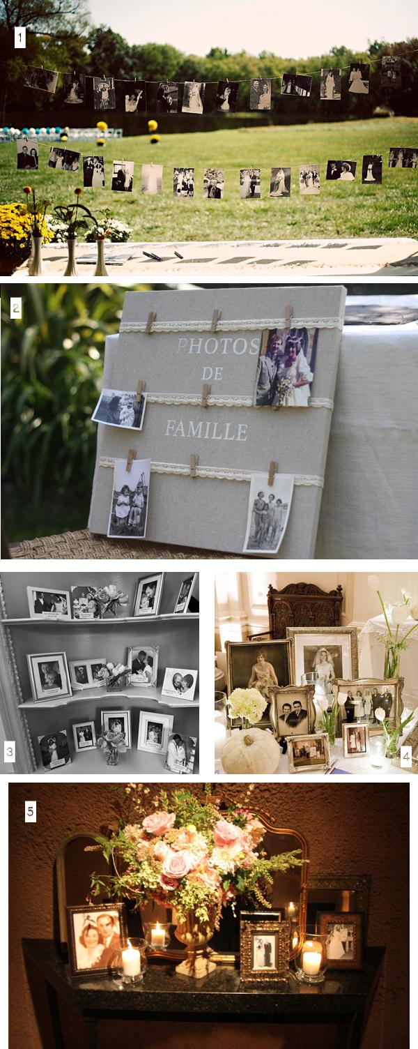 ideas family photos displayed at weddings
