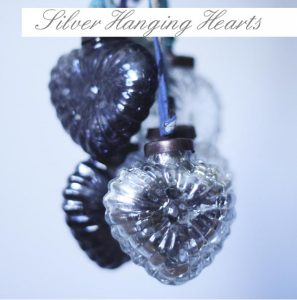 frosted silver hanging hearts