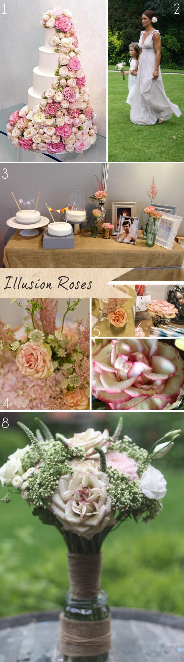 illusion roses wedding flowers