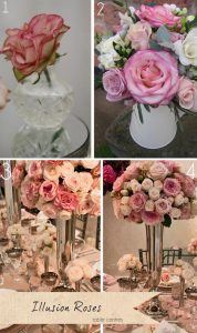 illusion roses wedding table centres
