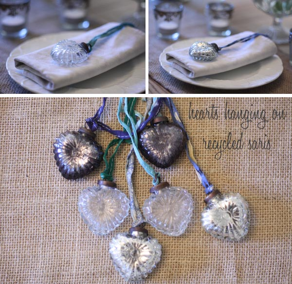 silver hanging hearts