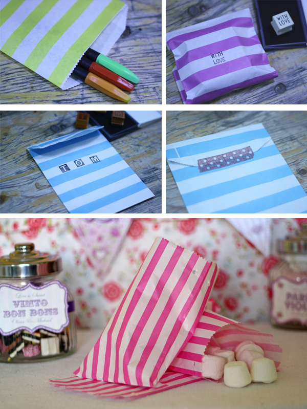 striped paper candy bags