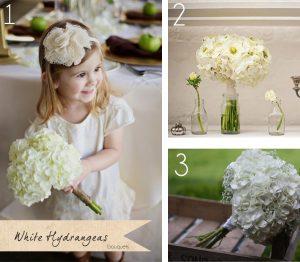 white hydrangeas bouquets