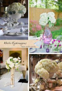 white hydrangeas wedding centre piece
