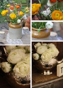 bright orange ranunculus wedding flowers