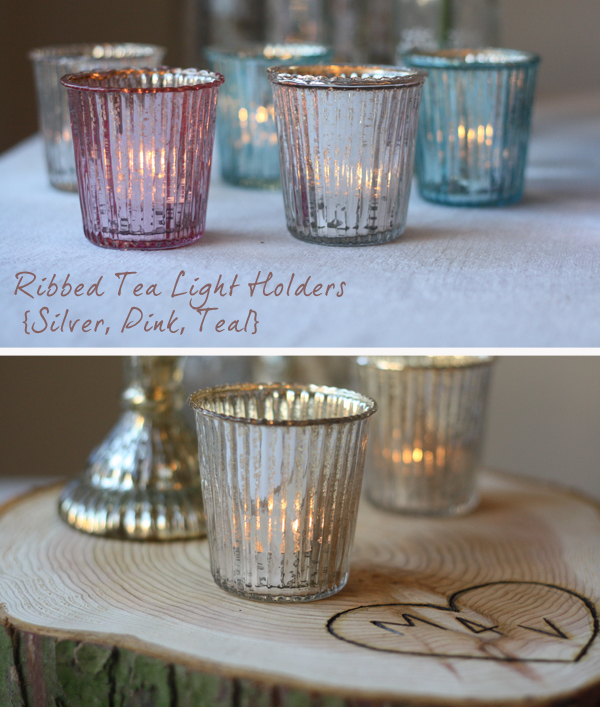 glass tea light holders silver pink teal wedding table decorations