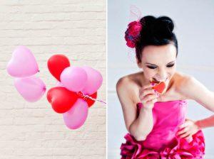pink red wedding balloons