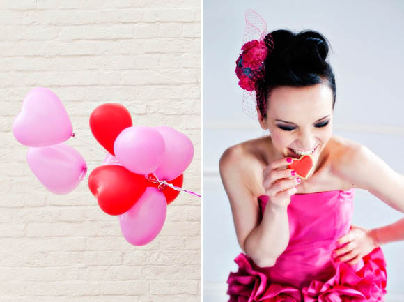pink red wedding balloons