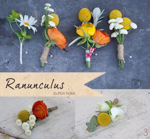 ranunculus wedding button holes
