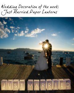 just married paper lanterns wedding sign