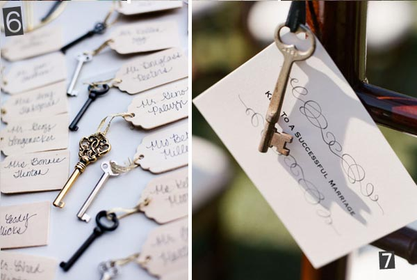 keys on luggage tags wedding escort cards