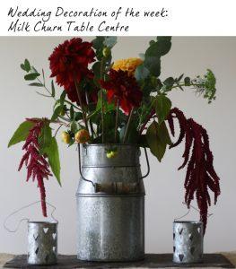 milk churn rustic wedding table centre