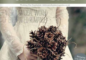 save the date magazine fircone bouquet