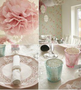 soft pink pom poms pink and teal tea light holders wedding inspiration