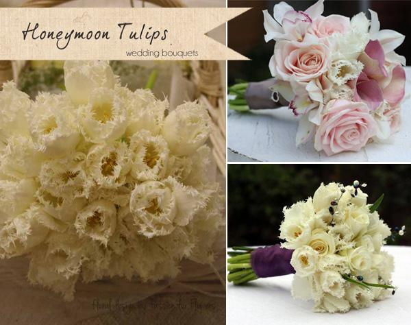 wedding bouquets cream honeymoon tulips