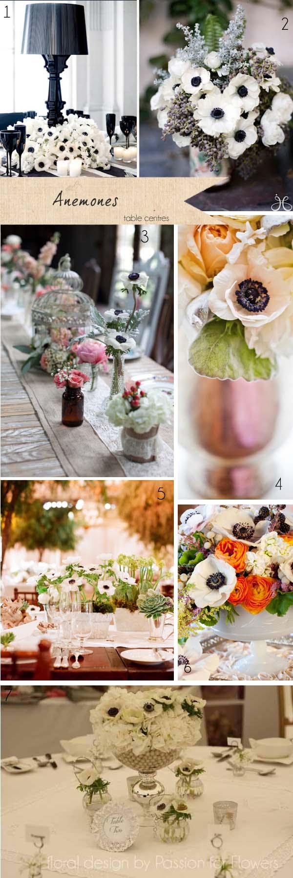 anemone wedding table centres wedding flowers
