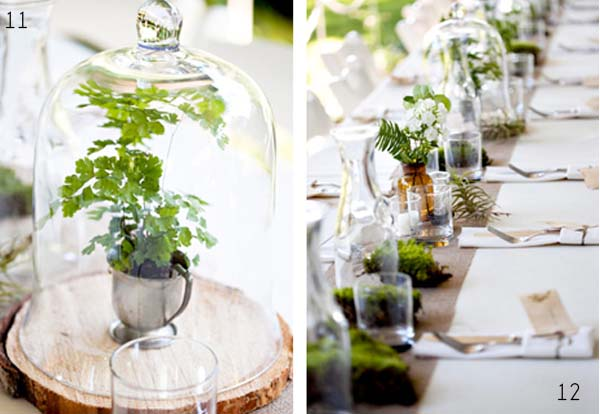 bell jar wedding centerpiece on wooden slice