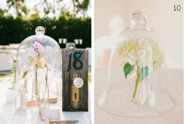bell jar wedding glass table centres