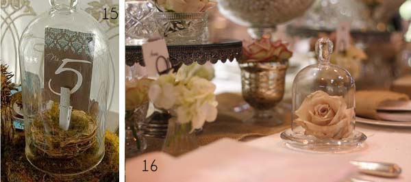 bell jar wedding place setting table numbers