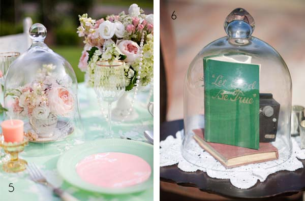 bell jar wedding table centes cloche