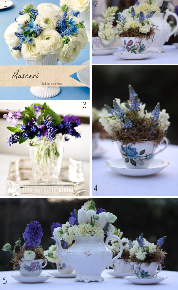 blue muscari wedding table centres grape hyacinth
