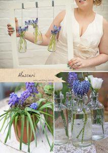 blue wedding flowers muscari grape hyacinth