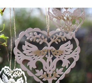hanging wedding decorations hanging lovebird hearts