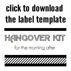 hangover kit wedding label template