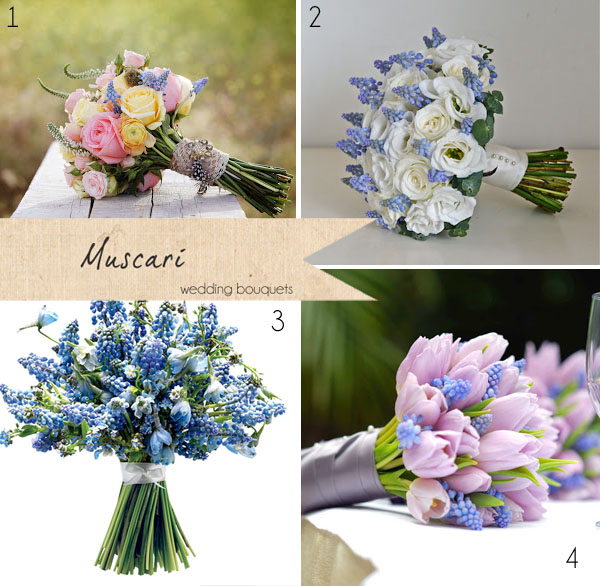muscari wedding bouquets blue bride bouquets