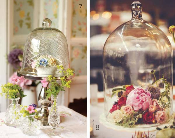 wedding table centre bell jar glass cloche
