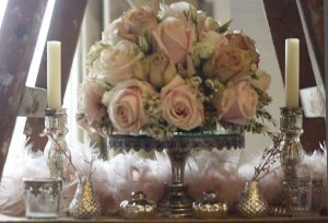 Low wedding flowers blush pink roses mirror cake stand Passion for Flowers