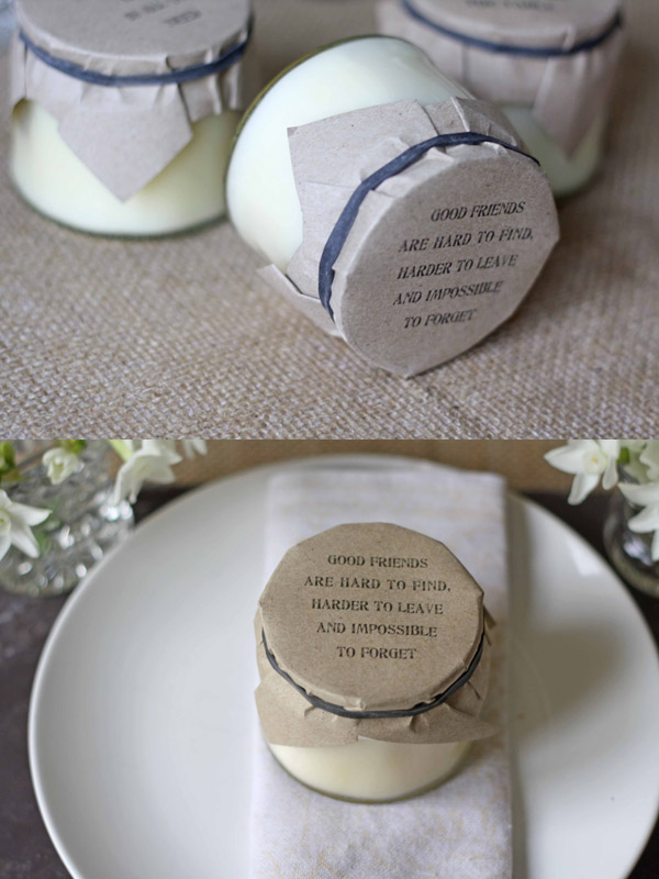 Candles In Jam Jars With Brown Paper Lids Wedding Favours Uk