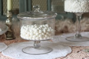 glass footed candy jars with lids