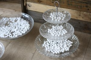 glass three tier cake stand for wedding dessert table