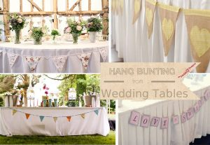 hang bunting from wedding tables
