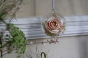 hanging glass bauble pink rose wedding