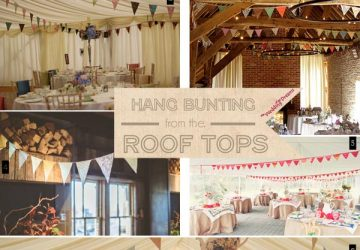 hanging wedding bunting from the roof of marquee or barn