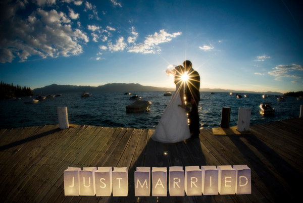 just married paper lanterns wedding sign
